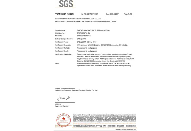 SGS Certification-Winding Type